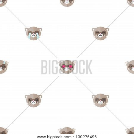 Vector flat cartoon ferret heads with different emotions seamless pattern. Animal emoticons backgrou
