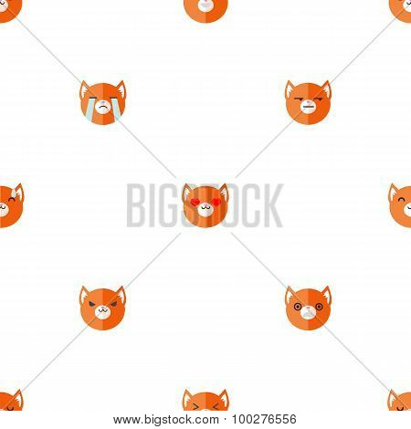 Vector flat cartoon fox heads with different emotions seamless pattern. Animal emoticons background.