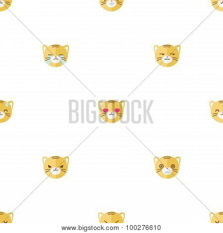 Vector flat cartoon tiger heads with different emotions seamless pattern. Animal emoticons backgroun