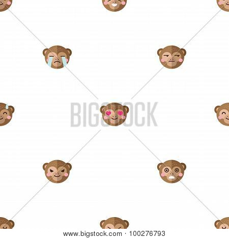 Vector flat cartoon monkey heads with different emotions seamless pattern. Animal emoticons backgrou