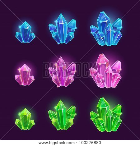 Magic cartoon shiny crystals set
