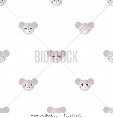 Vector flat cartoon mouse heads with different emotions seamless pattern. Animal emoticons backgroun