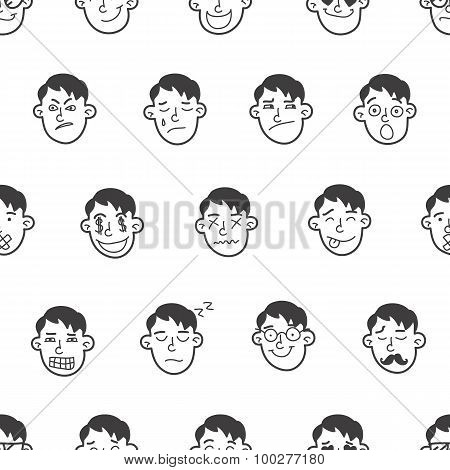 Vector cute doodle boy heads seamless pattern. Emoticons background.