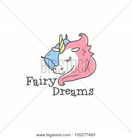 Vector cute logo. Cartoon sleeping unicorn logotype. Bed-clothes store sign.