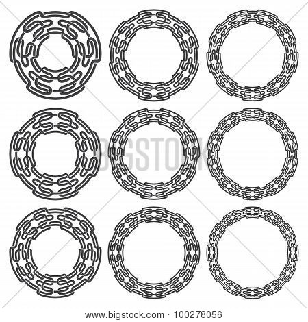 Nine circular decorative elements with stripes braiding