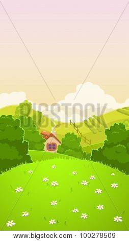 Cartoon nature country landscape