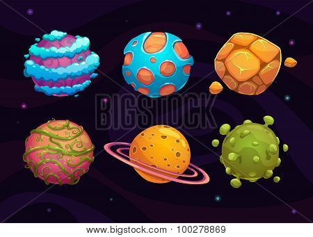 Set of cartoon fantasy planet