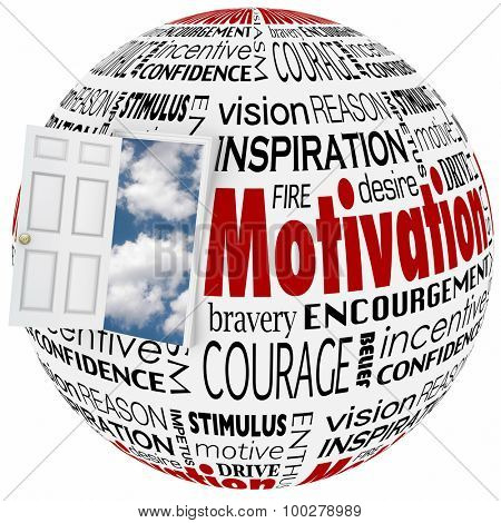 Motivation words in a collage on a globe or sphere with open door to clear sky of opportunity to illustrate inspiration, belief, confidence, enthusiasm and ambition to achieve success in life
