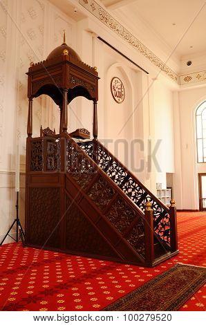 Mimbar of Tengku Ampuan Jemaah Mosque in Selangor, Malaysia