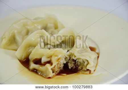 Gyuza Japanese boiled Dumplings dressing soy sauce