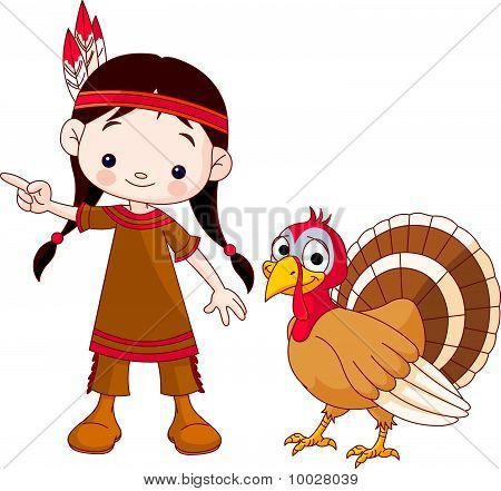 Thanksgiving Indian Girl And Turkey