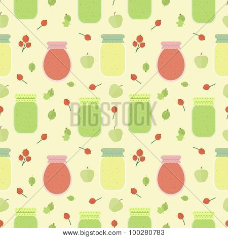 Seamless pattern with fruits and jars of jam