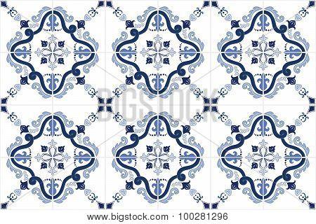 Traditional ornate portuguese tiles azulejos. Vector illustration.