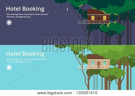 Colorful vector flat banner set. Quality design illustrations, elements and concept - Tree house, Hotel booking, Night and day