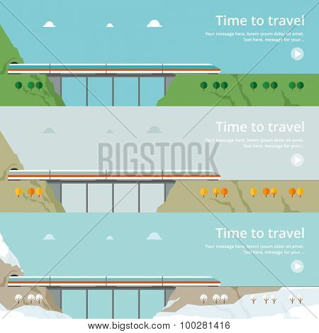 Colorful vector flat banner set. Quality design illustrations, elements and concept - The journey by rail, Chiap tickets, Summer, Autumn, Winter