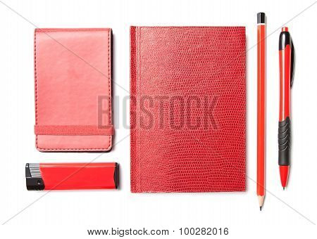 Red Set Of Stationery