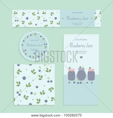 Homemade blueberry jam set