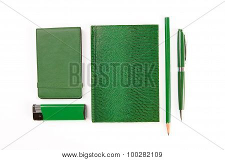 Green Set Of Stationery