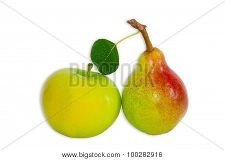 Pear Bartlett And Apple On A Light Background