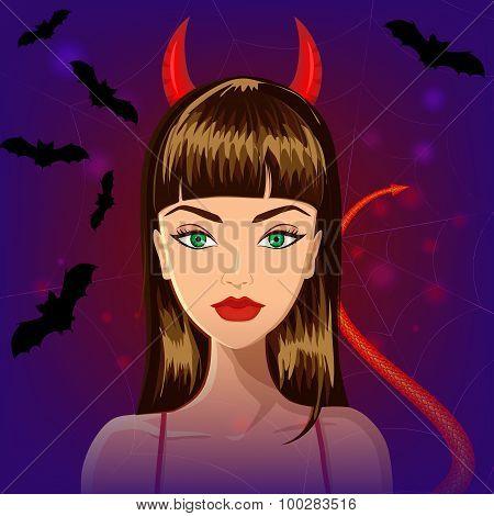 Halloween devil witch girl