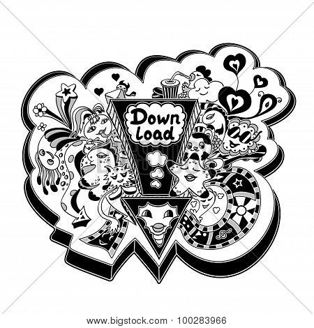 Concept down load with doodle monsters in white black