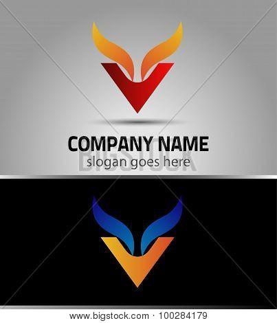 Corporate Logo V Letter company vector design template