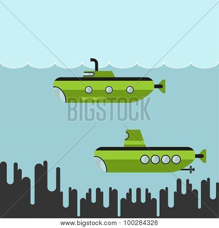 Submarines vector illustration