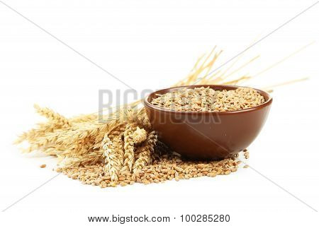 Ears Of Wheat And Bowl Of Wheat Grains Isolated On White