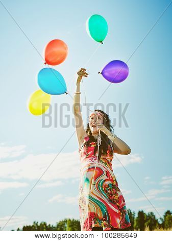 Beautiful Pregnant Woman And Balloons