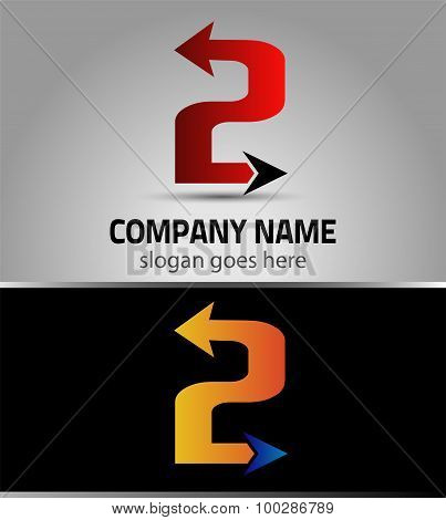 Abstract Number 2 logo Symbol with arrow