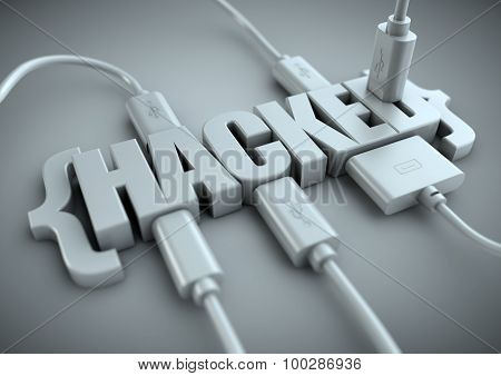 Hacked Title With Data Cables Plugged In To It.