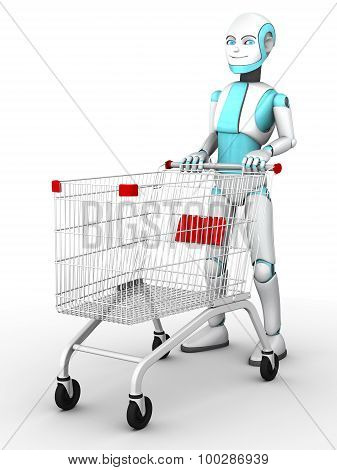 Toon Robot Boy With Shopping Trolley.