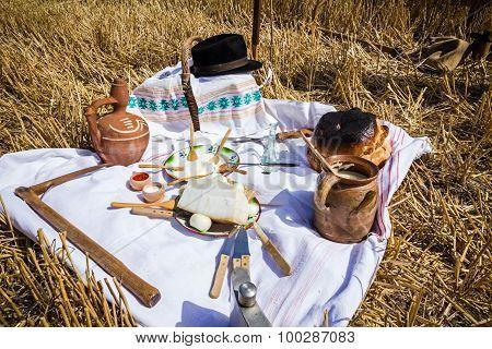 Retro Breakfast Like In Old Times, Outdoor.