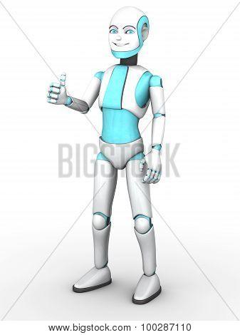 Toon Robot Boy Doing A Thumbs Up.