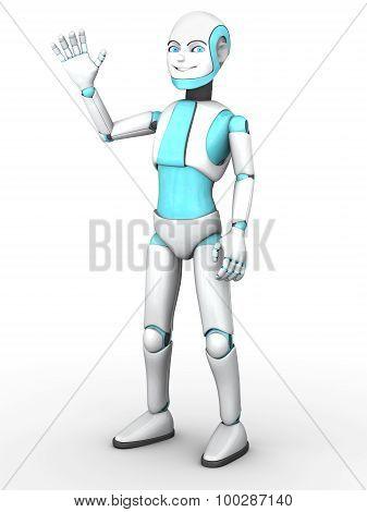 Toon Robot Boy Waving.