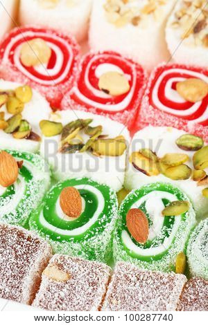 Tasty Turkish Delight Background, Close Up