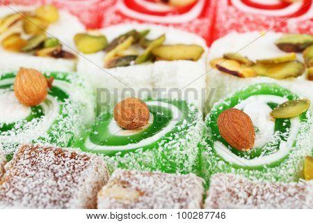Tasty Turkish Delight Background, Close Up