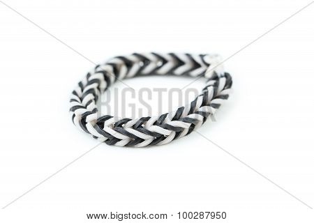 Colorful Rubber Band Bracelet Isolated On White