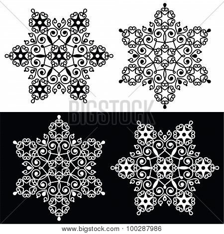 Christmas snowflake design with - embroidery, lace style