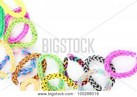 Colorful Rubber Band Bracelets On White Background