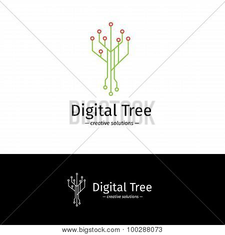 Vector outline digital tree logotype. Digital company logo.