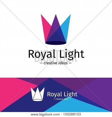 Vector minimalistic three color light rays logotype. Minimalistic crown logo.