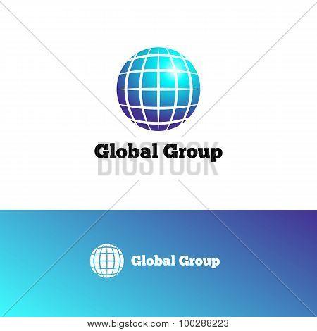 Vector gradient Earth logo. Elegant globe symbol.