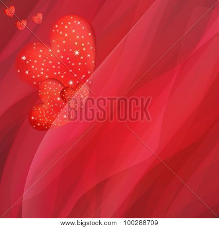 Heart And Red Background