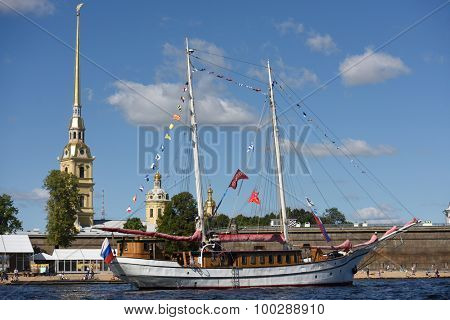 ST. PETERSBURG, RUSSIA - AUGUST 15, 2015: Sailing ships parade during the International marine festival in the Peter and Paul fortress. The fest is the main event of Great St. Petersburg Sailing Week
