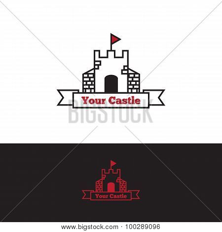 Vector outline castle with red flag logo. Stronghold logotype.