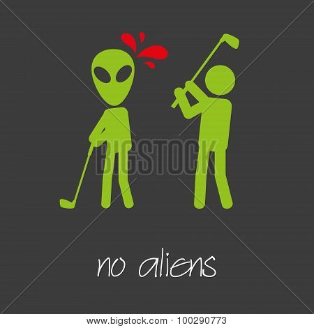 Killing Alien Golf Sport Design Banner And Background Eps10