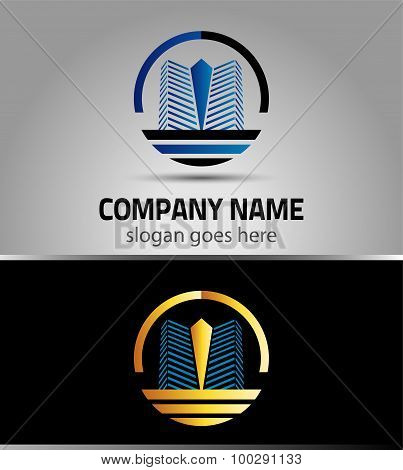 Vector company building, line skyscrapper icon, logo isolated