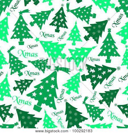 Set Of Christmas Green Tree Decoration Seamless Pattern Eps10