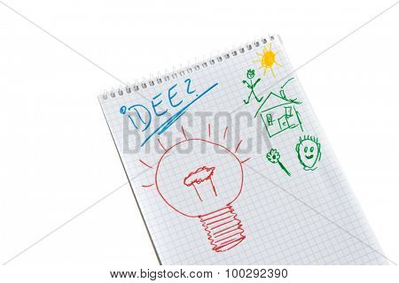 new ideas and creativity for innovation. drawing a light bulb
